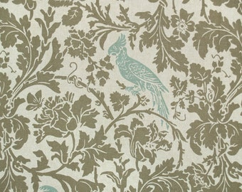 Premier Prints Fabric-Barber Birds Blue Kelp Linen-Fabric By The Yard=Fast Shipping