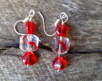 Glass bead red wrapped candy lolly look-a-look earrings on surgical steel hooks