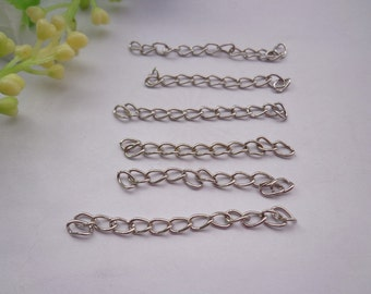 100pcs of 4.5-5cm Long x 3mm wide Exquisite white k Tail Chain