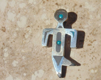 Tono ~ Piedra Negra ~ Mexican Sterling, Copper, Onyx and Turquoise Kachina / Figure Pendent