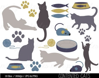 Cat Clipart, Kitten Clipart Clip Art, Animal clipart, Cat Silhouette, Kitty, Pets, Paw Print - Commercial & Personal - BUY 2 GET 1 FREE!