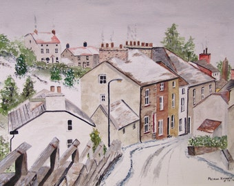 watercolor painting,PRINT, snow townscape, winter scene,scenic landscape,winter, european town, landscape scene, roof tops, art sale,