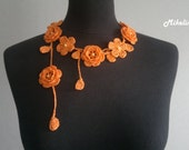 Crochet Rose Necklace,Crochet Neck Accessory, Flower Necklace, Orange, 100% Cotton.