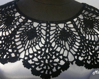 Handmade Crochet Collar, Neck Accessory, Black