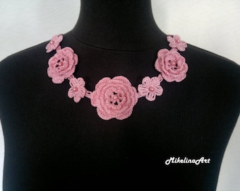 Crochet Rose Necklace,Crochet Neck Accessory, Flower Girl Necklace, Pink, 100% Cotton.