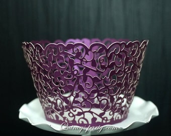 Cupcake wrapper vintage purple