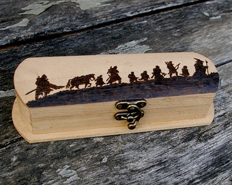 The Lord of the Rings inspired pyrography pen holder box