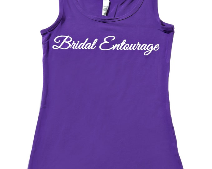Set of 9 Purple Bridal Entourage Tanks . Bridesmaid Tank Tops . Wedding Shirts . Bridesmaid Tanks . Bridal Party Tank Tops - Maid of honor.