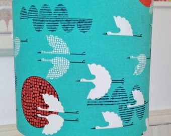 1000 Flying Cranes- Fabric Covered Lampshade.
