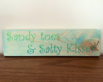 "Rustic hand painted wood sign ""Sandy Toes and Salty Kisses"""