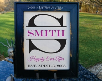 Wedding Gift Custom Initial - Gift on Cotton- Name and Est. Date, Gift for Anniversaries, Weddings, Engagements.  (I-S02)