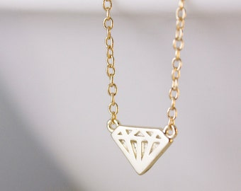 Diamond Necklace - Choose Your Setting, Gold Diamond Charm, Silver Diamond Pendant, Carat. Gift For Her