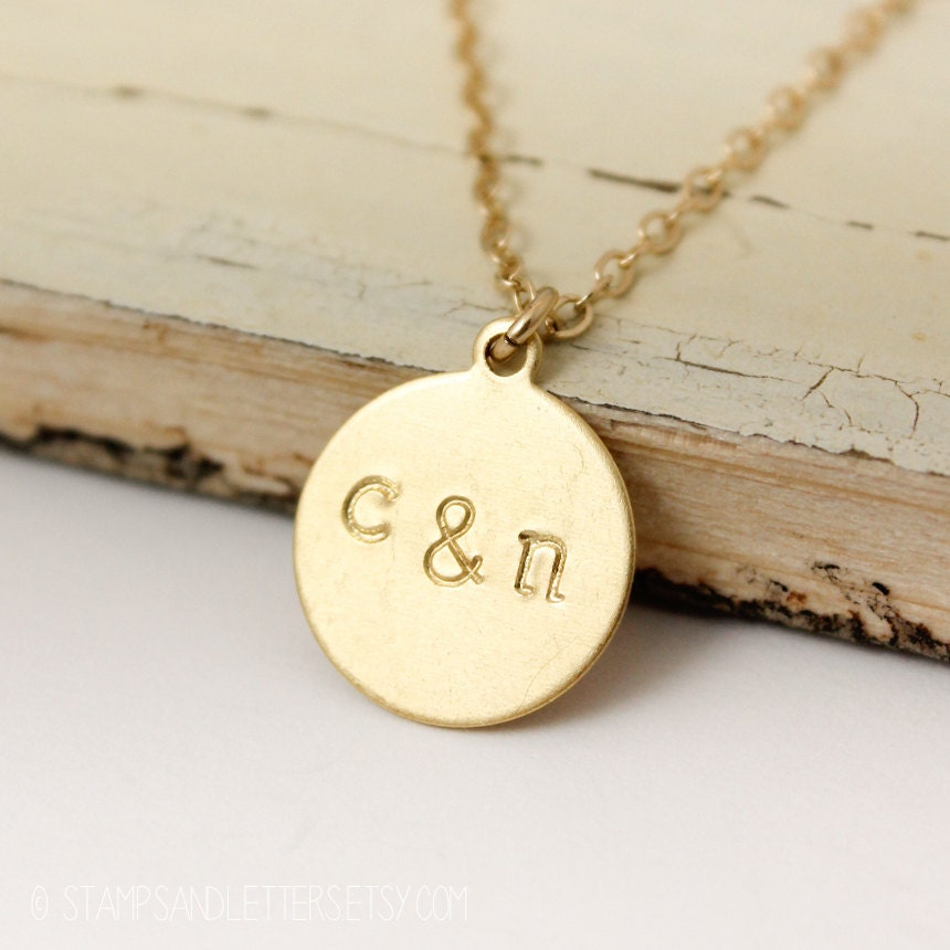 Gold Couples Initial Necklace His & Hers Jewelry Bridal