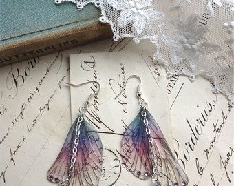 "Rather pretty Small  ""Purple Faerie wing earrings"""