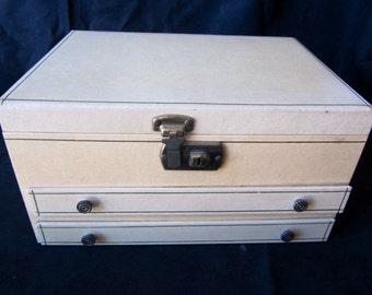 Vintage Mele Jewelry Box Mid Century Red Velvet Interior Jewelry Organizer musical box