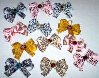 Dog Grooming Bows 12 Double Looped Decorated Wild Animal Print Dog Bows