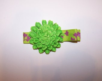 Flower Hair clip in Bright lime green with purple accented ribbon