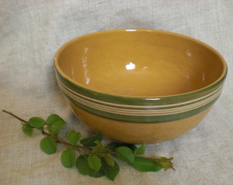 Large pottery clay ceramic mixing bowl rustic brown glazed retro fruits vegetables serving country lodge farm farmhouse decor made in Latvia