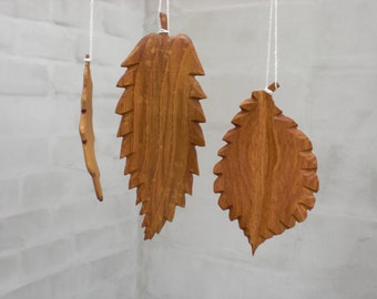 3 Wooden leaf leaves large autumn fall rustic decor natural tree leave oak carved wood leaf country fall farmhouse decor home decor vintage