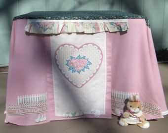 Card table playhouse, pink with bunny