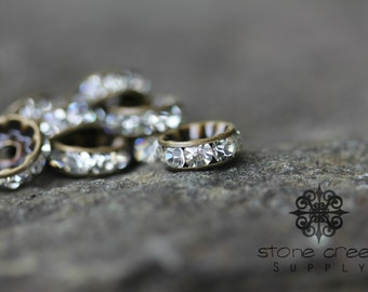 10 mm Antique Bronze Vintage Style, Brass Czech Crystal Rhinestone Rondelle Spacers GRADE AAA - Straight Edge - 142071