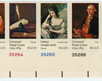 40 year old,  5,  U.S. Stamps, Date, 1974, Scott # 1534-35-36-37-30, Universal Postal Union,  Un-Used,   Very fine to mint state.   589a