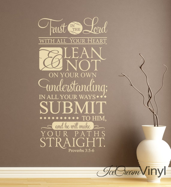 Scripture Wall Decal Proverbs 3:5-6 Trust In The Lord for Living Room Bedroom Family Room Home Decor Vinyl Lettering
