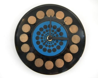 Hand Painted Vinyl Record Clock: Circles design (Bronze and Blue)