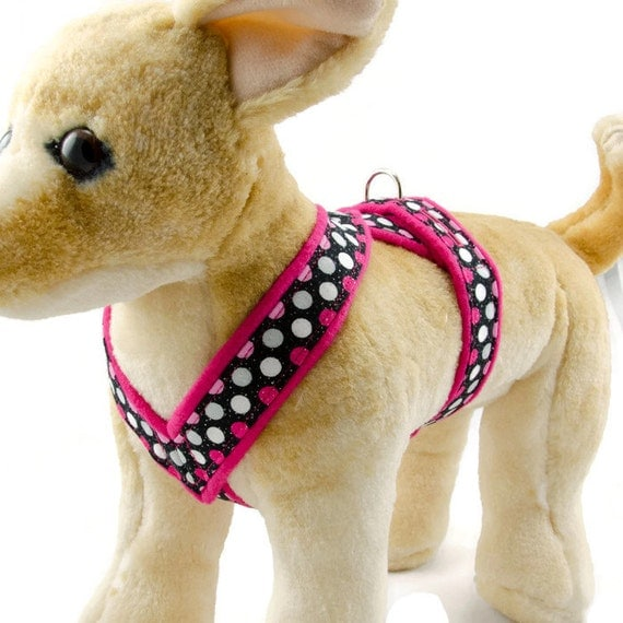 small dog harness hot pink polka dot comfy no choke by puppanache. Black Bedroom Furniture Sets. Home Design Ideas