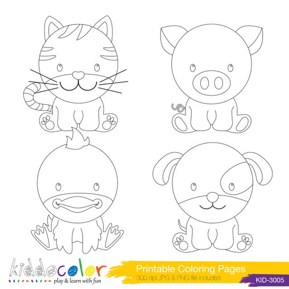 items similar to printable cute farm animals coloring pages digital stamp 1 on etsy. Black Bedroom Furniture Sets. Home Design Ideas