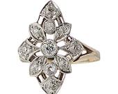 Edwardian diamond ring in platinum & 14k gold