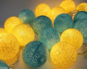 SkyBlue &Yellow Cotton Balls String Lights Fairy Home Decor Party