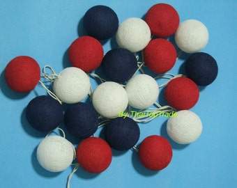 20 Mix Independence Day Tone Cotton Ball String Lights Party Thailand Handmade