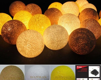 20 Lighting Brown-Yellow-White Cotton String Lights Fairy lights Party Decor