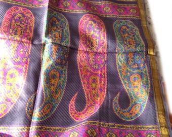Grey Self woven floral Printed Silk Sari with Paisley design Pallav / pallu, thin zari border, 5 yards Indian Silk Sari
