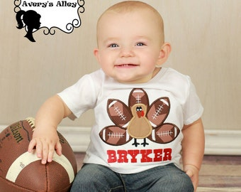 Football Turkey - Boys Personalized Applique White Thanksgiving Shirt or Bodysuit
