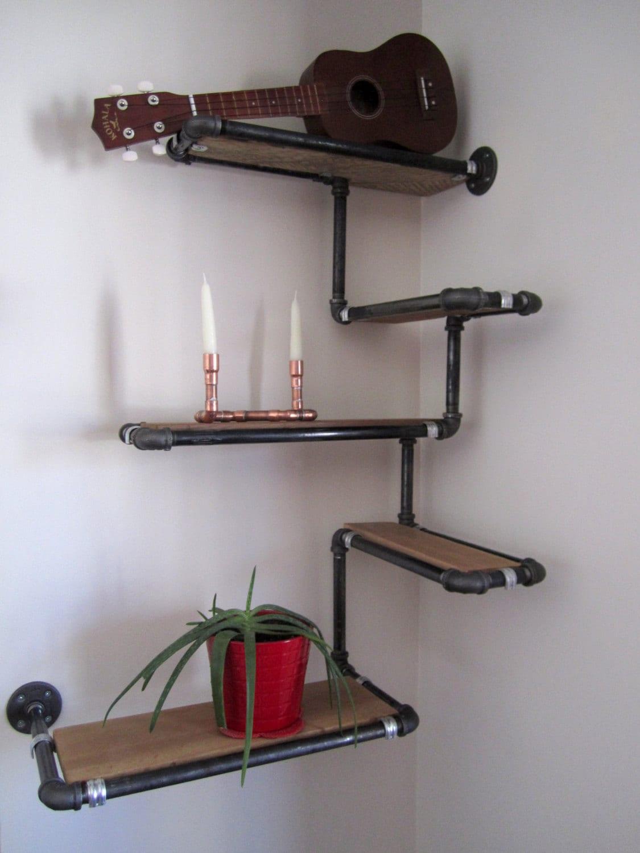 Pipe Wall Shelf With Reclaimed Wood Custom Pipe Shelves Made