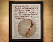 Baseball Dictionary Art Print, Ball Derek Jeter Quote Yankees Gifts for Men Man Cave Gift Ideas Boys Room da440