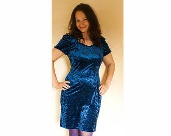 Vintage Navy Velvet Dress / Dark Blue Dress