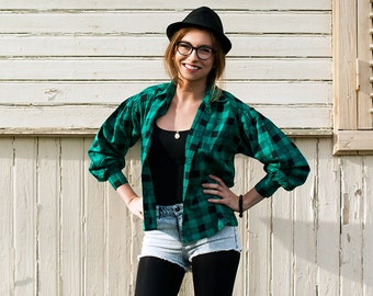 Vintage Women's Green and Black Checkered Blouse / Plaid Shirt