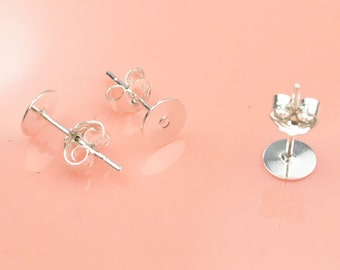 925 sterling silver Earring post 20 Pairs 6mm 925 sterling silver plated copper Earring studs With round Pads back stoppers earnuts,12mm pin