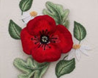 Poppy and Daisies Stumpwork Raised Embroidery Kit