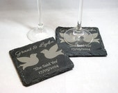 Engraved Slate Coasters - Engagement Gift, newly engaged, love birds, she said yes, welsh slate, wedding gift, UK seller.