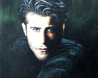 Authentic -Goran Visnjic- Oil on Canvas portrait actor male Croatia 49x68 cm