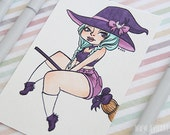 Original Drawing || Kawaii art || Cute witch girl || Mint hair || Pastel goth || 5 x 7.5