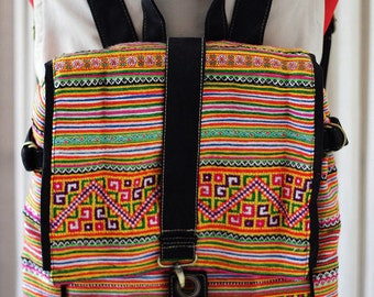 Backpack handmade bag  Vintage cross stitch fabric Overview:Lines sewn fabric.