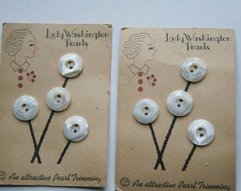 Lady Washington Pearl Buttons  On Card Vintage  Sewing Notions