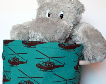 12x12x10 Large Green Helicopter Fabric Basket or Fabric Bin - great for toy or clothes storage