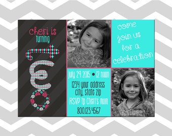 Little Girl Second Birthday Invitation/Card With Pictures