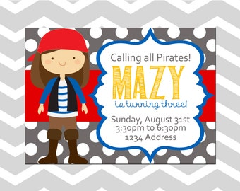 Pirate Birthday Party Invitation/Card
